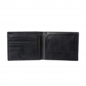 Antica Toscana Mens Wallet in Genuine Italian Leather with Coin Holder Purse / Card & Banknote Pockets Black