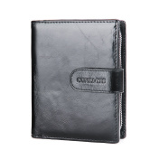 Contacts Mens Genuine Leather Bifold Card Holder Zipper Coin Pocket Short Wallet Black