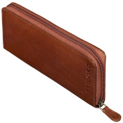STILORD 'Carl' Pipe Pouch Leather Brown for Tobacco Bag Smoking Wallet Pipe Holder Genuine Leather Fawn Brown