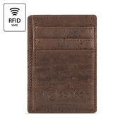 Best RFID Blocking Vegan Wallet for Men, Non-Leather Cork Wallet for Men's, Dark Brown