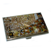 Mother of Pearl Expectation by Gustav Klimt Art Painting Design Business Credit Name ID Card Holder Case Metal Stainless Steel Engraved Slim Purse Pocket Cash Money Wallet