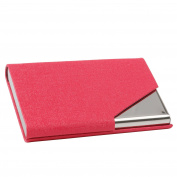 TRIXES Hot Pink Professional Business Card Holder with Sleek Faux Leather Finish