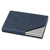 TRIXES Blue Professional Business Card Holder with Sleek Faux Leather Finish