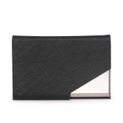 Unisex PU Leather Business Card Holder Stainless Steel Fashion Style Business Card Case Credit Card ID Card Name Card Box