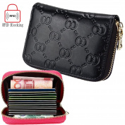 iSuperb® RFID Blocking Credit Card Holder Wallet Protection Genuine Leather for Women Credit ID Card Security Travel Wallet/Case/Purse/Pocket with Zipper for Ladies Girl with Gift Box