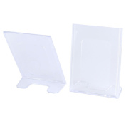 Plastic L-Shaped Photos Display Business Card Holder Stand 2 Pcs Clear