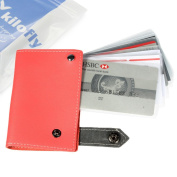 kilofly Credit Business Card Holder Name Card Case - Leather, Red