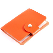 Faux Leather Button Press Bank Credit Business Card Holder Orange