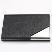 Sayes Brand Unisex Faux Leather Business Card Holder Stainless Steel Fashion Style Business Card Case Credit Card ID Card Name Card Box