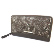 "Zipped compartment / leather pouch 'Gianni Conti'brown (python pattern)- 19x10.5x2.5 cm (7.48""x4.13""x0.98"")."