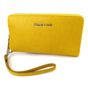 """Wallet + chequebook holder zip / leather pouch 'Gianni Conti'yellow - 18.5x11x2.5 cm (7.28""""x4.33""""x0.98"""")."""