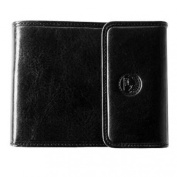 Vanity- Chequebook Holder Folding Long 100% Real Genuine Cow Leather Snap Button Credit Card Holder New