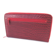 Wallet + chequebook holder zipped leather 'Frandi'red (crocodile).