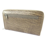 Wallet + chequebook holder zipped leather 'Frandi'taupe (crocodile).