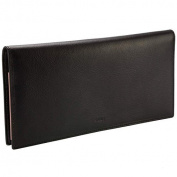Vanity R6502 Long Black Leather Chequebook Holder/Wallet 23x11cm + Stylus Included