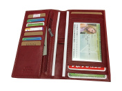 Vanity Case - All in One, Chequebook Holder, Business Card Holder, Wallet, Cow Leather, Soft, Red