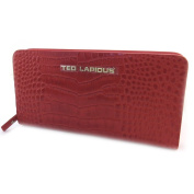 Wallet + chequebook holder zipped leather 'Ted Lapidus'red.
