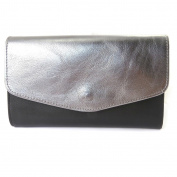 Leather wallet + chequebook holder 'Frandi'black two-tone grey.