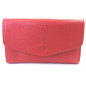 Leather wallet + chequebook holder 'Frandi'grained red.