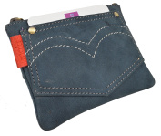 Mala Leather Pinky Denim Jeans Style Coin Purse Wallet with Key Chain Pocket Designs