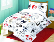 Love2Sleep COT BED ANIMALS PRINTED DUVET COVER WITH PILLOWCASE - SUPERIOR NATURAL POLY COTTON 120 X 150 CM - DOG BUDDY