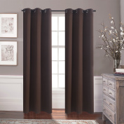 """Aquazolax Premium Ring Top Thermal Insulated Blackout Drapery Solid Curtains for Bedroom Room Darkening, 2 Panels Set, 110cm Wx 63""""L, Toffee Brown"""