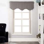Aquazolax Thermal Insulated Solid Blackout Curtains Scalloped Valances for Kitchen, 130cm by 46cm , Grey, 1 Panel