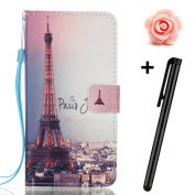 Samsung Galaxy J7 Prime case,Samsung Galaxy J7 2017 wallet case,Flip Leather case for Galaxy J7 Prime,TOYYM 3D Romantic Eiffel Tower Patterned PU Leather Wallet Case Cover Pouch [Magnetic Closure] with Card Slots for Samsung Galaxy J7 2017,Kickstand,Cr ..