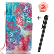 Samsung Galaxy J7 Prime case,Samsung Galaxy J7 2017 wallet case,Flip Leather case for Galaxy J7 Prime,TOYYM 3D Colourful flowers Patterned PU Leather Wallet Case Cover Pouch [Magnetic Closure] with Card Slots for Samsung Galaxy J7 2017,Kickstand,Credit ..