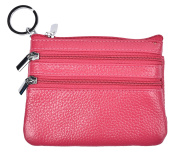 Outrip Womens Mini Coin Purse Wallet Genuine Leather Zipper Pouch with Key Ring