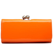 Miss Lulu Women Patent Leather Flower Ball Clasp Purse Wallet Hand Bag