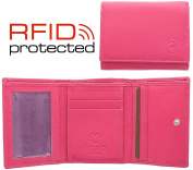 Ladies Small Compact Soft Leather Tri Fold Purse With RFID Protection