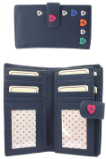 Ladies Large Soft Leather 22 Credit Card Purse With Beautiful Heart Detailing