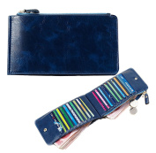 iSuperb® Credit Card Holder Wallet Genuine Leather Long Multi Card Holder Purse Clutch with Zipper for Women Man 19x2.5x10cm