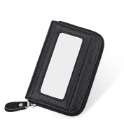 DcSpring RFID Blocking Women's Genuine Leather Wallet Credit Card Holder Lady Coin Purse With Photo Window