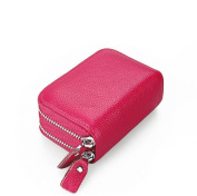 DcSpring RFID Blocking Genuine Leather Wallet Women Credit Card Holder Lady Coin Purse Double Zipper Wallet