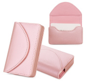 Business Card Holder, Business Card Case, Fyy 100% Handmade Premium PU Leather Business Name Card Case Universal Card Holder with Magnetic Closure (Hold 30 pics of cards) Rose Gold