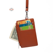 Artmi Womens RFID ID holders Slim Card Holder Leather Id lanyard with Neck Strap