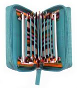Mens / Ladies Leather Concertina Credit Card / ID / Travel Card Holder / Wallet-Turquoise
