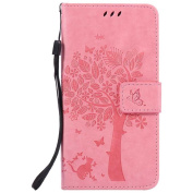 Huawei P9 Case, iGrelem® Leather Case for Huawei P9, Wallet Retro Flip Case, Tree Cat Butterfly Pattern Design Premium PU Leather Cover Case, Silicone Back Holder, Ultra Slim Fashion Protective Case for Huawei P9