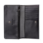 Antica Toscana Womens Real Italian Leather Long Flap-over Purse Wallet with two gussets Zip Credit Card & Coin Holders Black