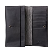 Antica Toscana Ladies Real Leather Long Flap-over Purse Multi Credit Card Wallet with 2 gussets & Inner Zip pocket Black