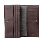 Antica Toscana Women's Large Capacity Genuine Leather Wallet Purse with Zipper Pocket Card Holder and 3 gussets Chestnut