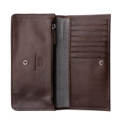 Antica Toscana Womens Real Italian Leather Long Flap-over Purse Wallet with two gussets Zip Credit Card & Coin Holders Chestnut