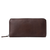 Antica Toscana Womens Zip Wallet Purse in Italian Leather with Coin Pocket and 8 Credit Card Holders Chestnut