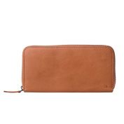 Antica Toscana Womens Zip Wallet Purse in Italian Leather with Coin Pocket and 8 Credit Card Holders Honey