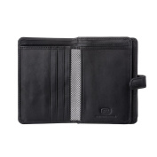 Antica Toscana Ladies Wallet Purse Multi compartment in Real Italian Leather with Zipper Coin Pocket & Card slots Black