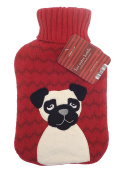 Hot Water Bottle With Soft Plush Fur Knitted Fleece Removable Cover