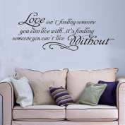15.7 X 33.5 Love Quotes Wall Sticker Love Isn't Finding Someone You Can Live With, It's Finding Someone You Can't Live Without Wall Saying Sticky Removable Wall Art Decor DIY Vinyl Wall Decal. by Newsee Decals