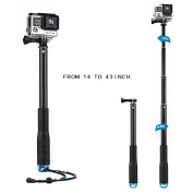Mystery Waterproof GoPro flexible Telescoping Monopod Tripod with Thumb Screw and Adjustable Wrist Strap for GoPro 5/4/3+/3/2/1 Xiaomi Action Cameras